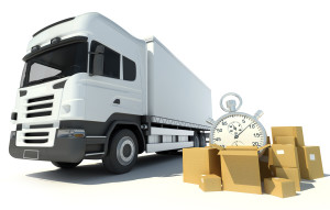 3D rendering of a brandless white truck, a pile of boxes and a chronometer