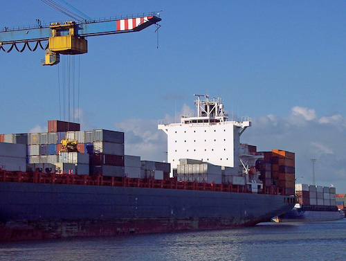 container ship in the harbour of zeebrugge ** Note: Slight graininess, best at smaller sizes