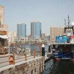 UAE, Dubai - January, 2019: cargo ship at Al Seef area, view over Dubai Creek