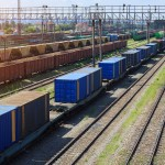 Freight Trains On City Cargo Terminal. Railways In Train Parking