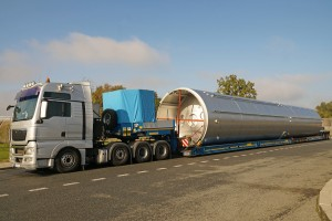 A Truck With A Special Semi-trailer For Transporting Oversized L