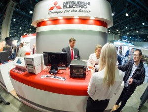 Moscow, Russia - April 11, 2019: Booth Of Mitsubishi Electric Co